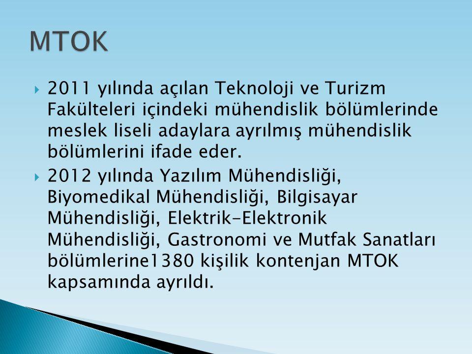  2011 yılında açılan Teknoloji ve Turizm Fakülteleri içindeki mühendislik bölümlerinde meslek liseli adaylara ayrılmış mühendislik bölümlerini ifade eder.