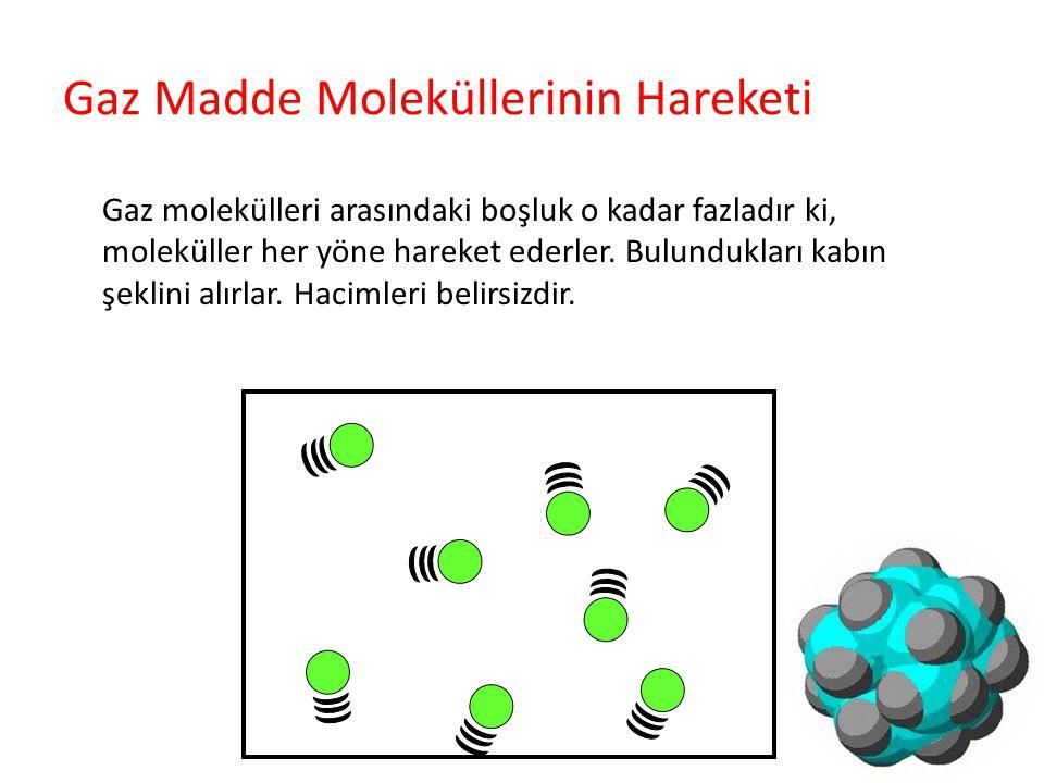 Gaz Madde Moleküllerinin Hareketi Gaz molekülleri arasındaki boşluk o kadar fazladır ki, moleküller her yöne hareket ederler. Bulundukları kabın şekli