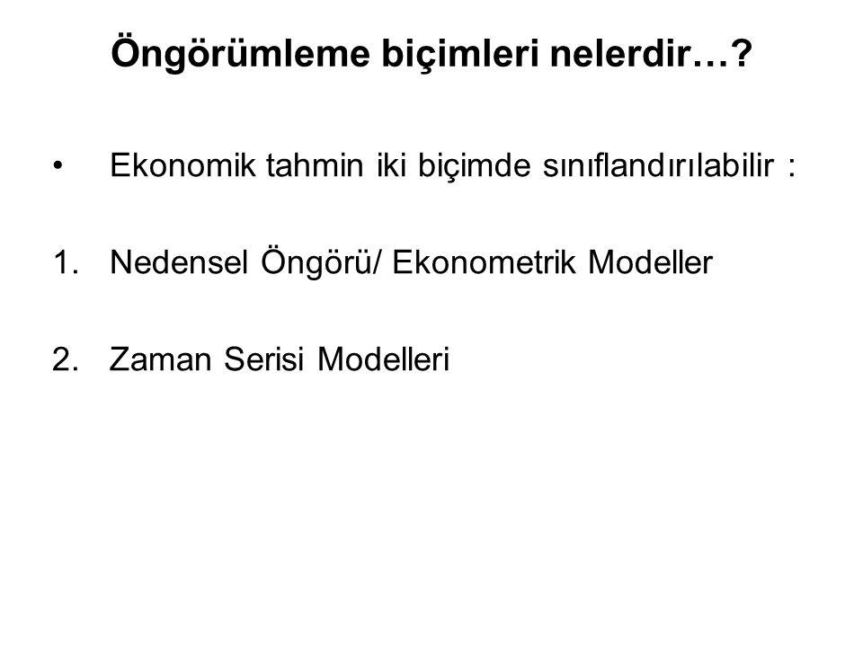 Öngörümleme biçimleri nelerdir…? Ekonomik tahmin iki biçimde sınıflandırılabilir : 1.Nedensel Öngörü/ Ekonometrik Modeller 2.Zaman Serisi Modelleri