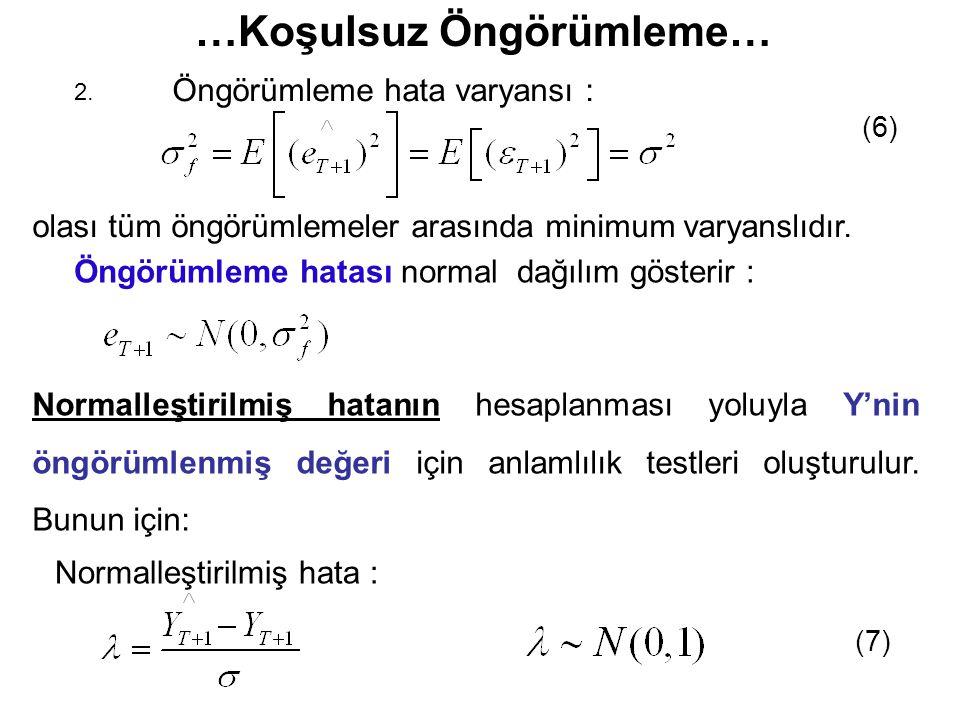 Öngörümleme hata varyansı : 2. (6) olası tüm öngörümlemeler arasında minimum varyanslıdır. Öngörümleme hatası normal dağılım gösterir : Normalleştiril