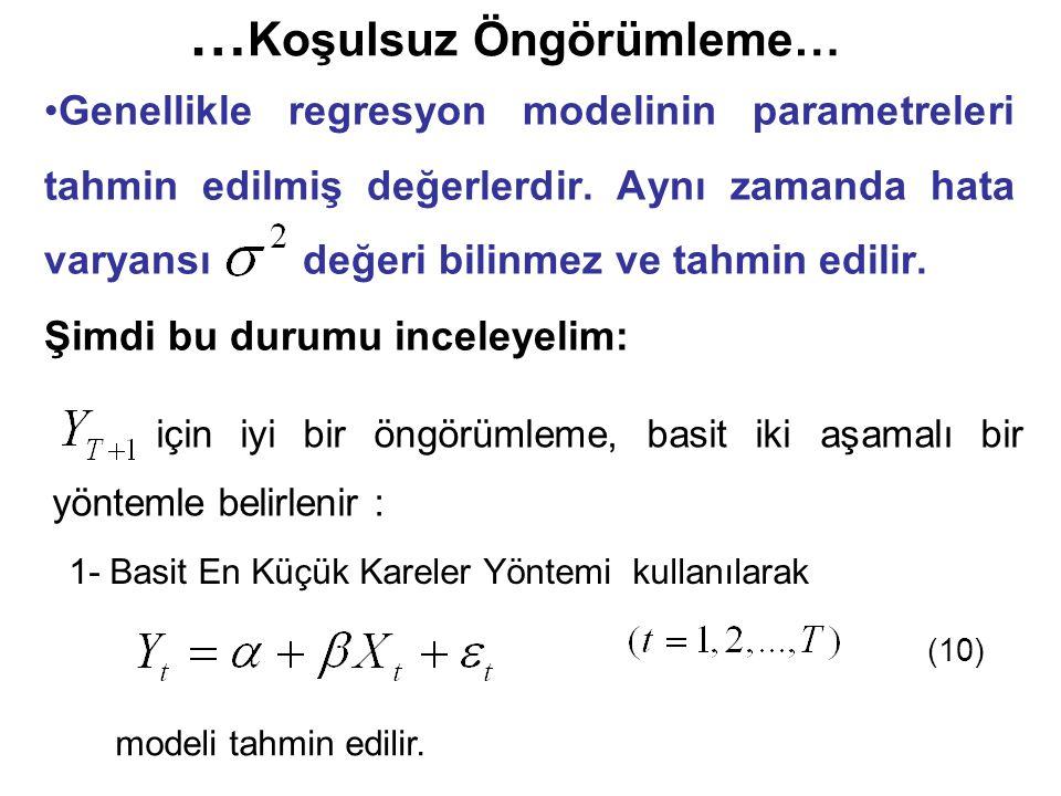 … Koşulsuz Öngörümleme… Genellikle regresyon modelinin parametreleri tahmin edilmiş değerlerdir. Aynı zamanda hata varyansı değeri bilinmez ve tahmin