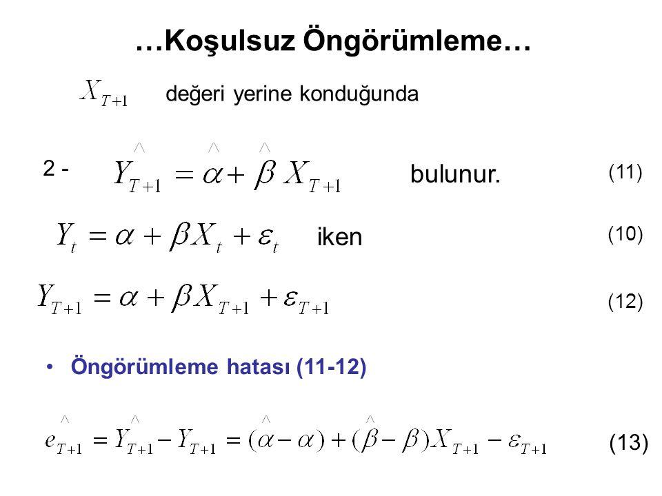 değeri yerine konduğunda …Koşulsuz Öngörümleme… 2 - bulunur. Öngörümleme hatası (11-12) (13) (11) (12) iken (10)