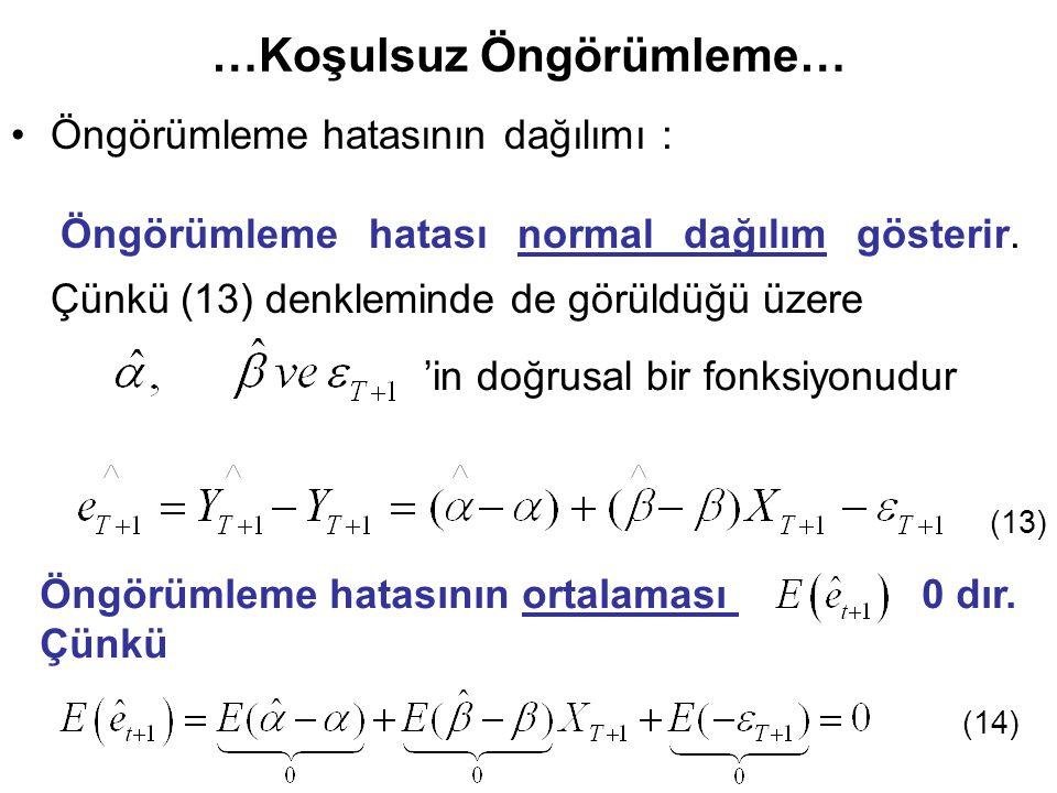 …Koşulsuz Öngörümleme… Öngörümleme hatasının dağılımı : Öngörümleme hatası normal dağılım gösterir. Çünkü (13) denkleminde de görüldüğü üzere (13) Öng