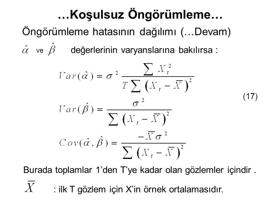…Koşulsuz Öngörümleme… değerlerinin varyanslarına bakılırsa : ve (17) Burada toplamlar 1'den T'ye kadar olan gözlemler içindir. : ilk T gözlem için X'