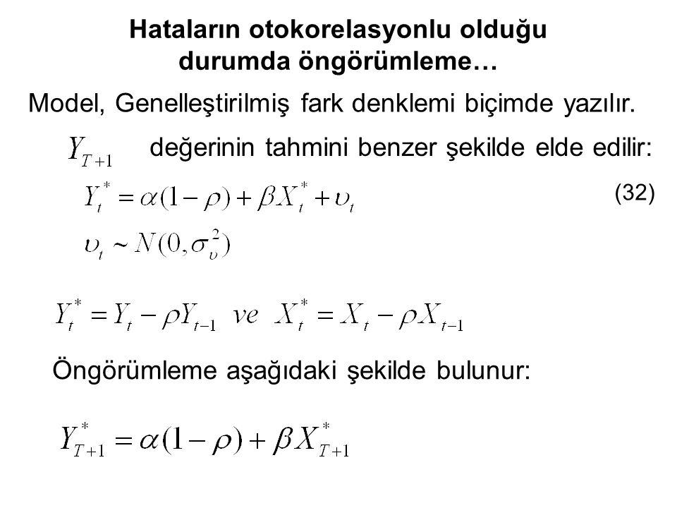 Model, Genelleştirilmiş fark denklemi biçimde yazılır. değerinin tahmini benzer şekilde elde edilir: (32) Öngörümleme aşağıdaki şekilde bulunur: Hatal