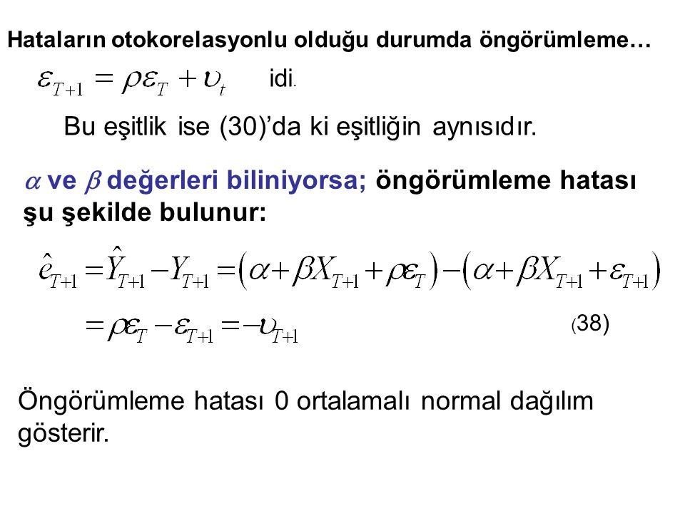 Bu eşitlik ise (30)'da ki eşitliğin aynısıdır.  ve  değerleri biliniyorsa; öngörümleme hatası şu şekilde bulunur: ( 38) Öngörümleme hatası 0 ortalam