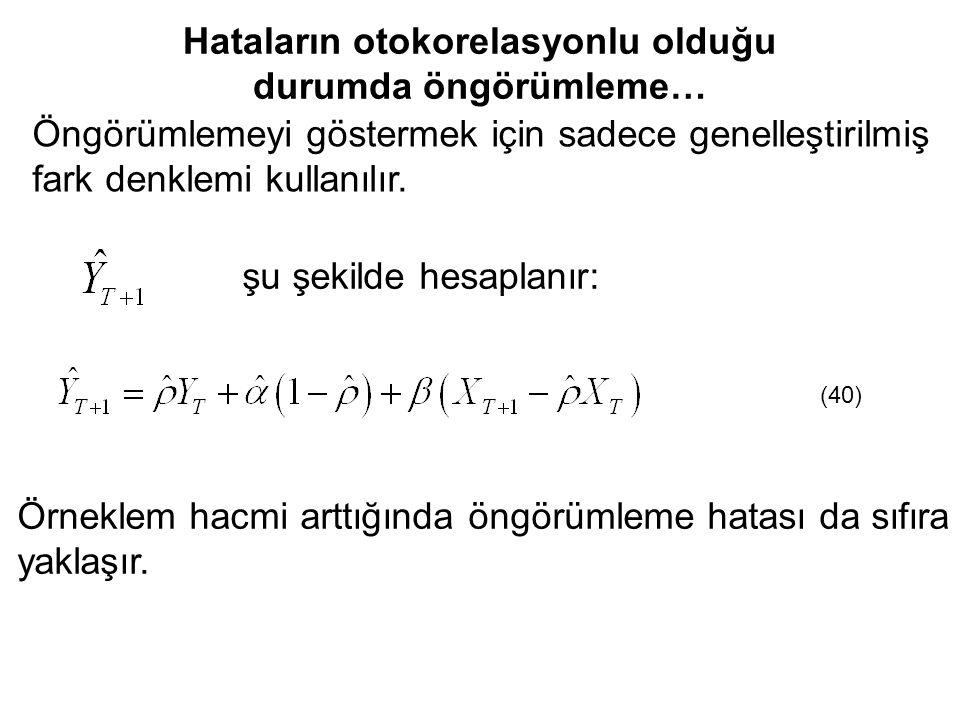 Öngörümlemeyi göstermek için sadece genelleştirilmiş fark denklemi kullanılır. şu şekilde hesaplanır: (40) Örneklem hacmi arttığında öngörümleme hatas