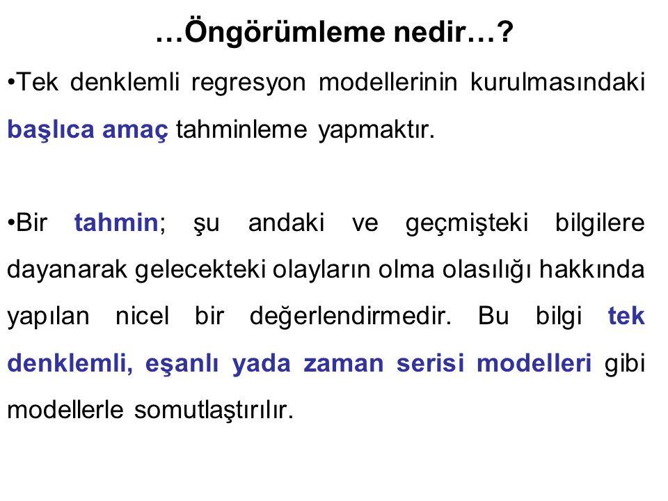 …Koşulsuz Öngörümleme… Model güvenilirliğinin ölçümünde sadece t,F ve R 2 istatistiklerine bakılmaz.