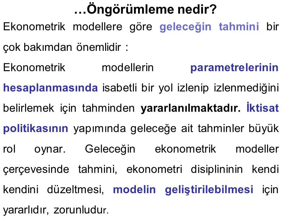 …Öngörümleme nedir? Ekonometrik modellere göre geleceğin tahmini bir çok bakımdan önemlidir : Ekonometrik modellerin parametrelerinin hesaplanmasında