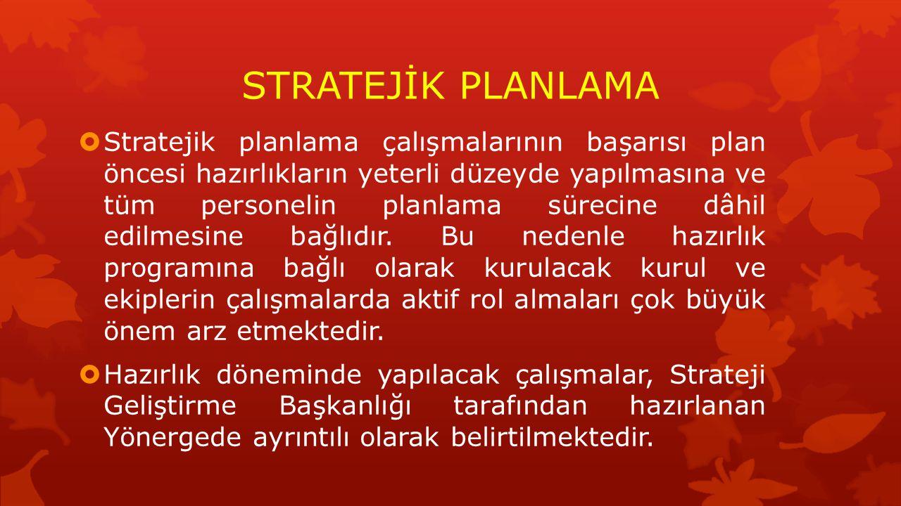 STRATEJİK PLANLAMA  Stratejik planlama çalışmalarının başarısı plan öncesi hazırlıkların yeterli düzeyde yapılmasına ve tüm personelin planlama sürec