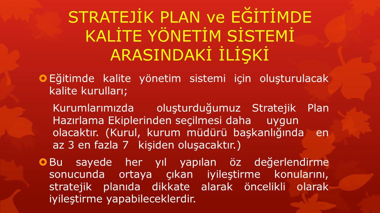  Eğitimde kalite yönetim sistemi için oluşturulacak kalite kurulları; Kurumlarımızda oluşturduğumuz Stratejik Plan Hazırlama Ekiplerinden seçilmesi d