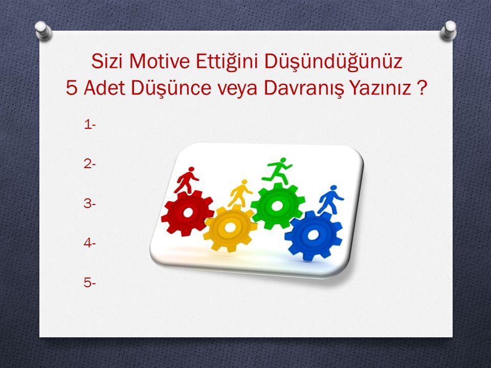 Sizi Motive Ettiğini Düşündüğünüz 5 Adet Düşünce veya Davranış Yazınız ? 1- 2- 3- 4- 5-