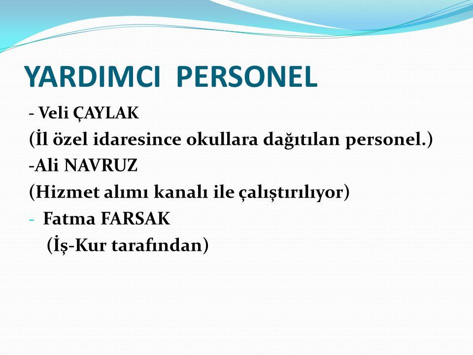 YARDIMCI PERSONEL - Veli ÇAYLAK (İl özel idaresince okullara dağıtılan personel.) -Ali NAVRUZ (Hizmet alımı kanalı ile çalıştırılıyor) - Fatma FARSAK