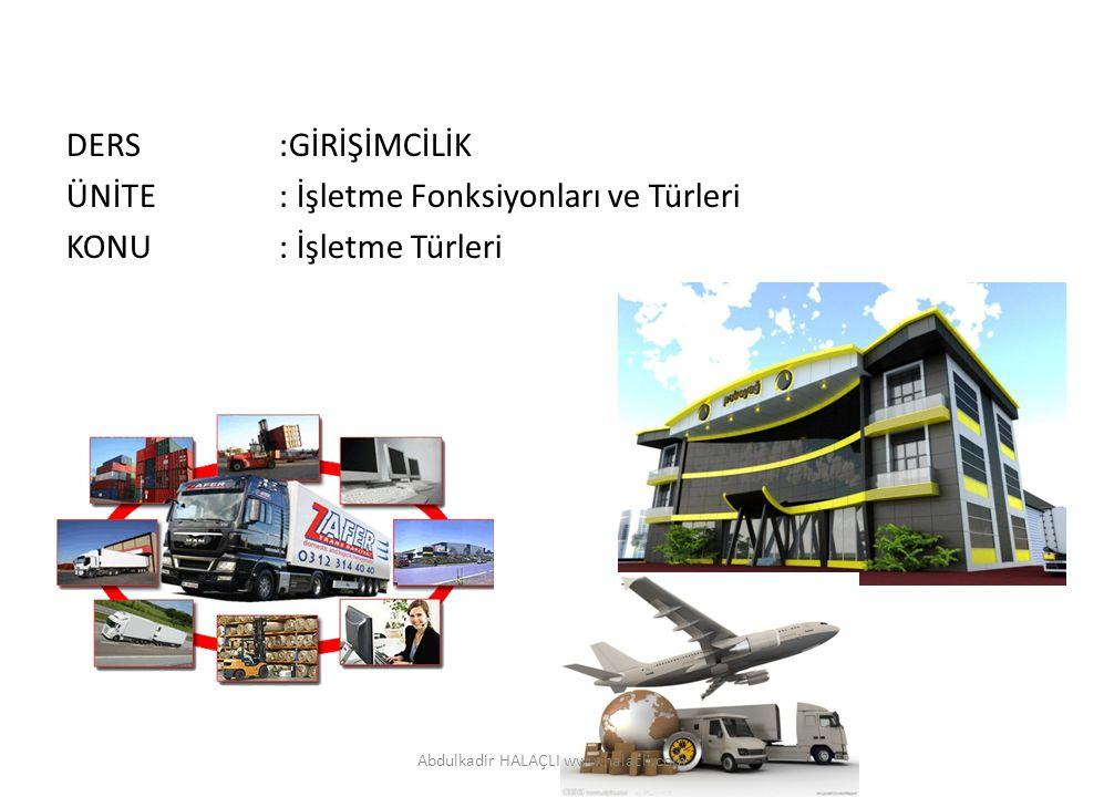 DERS:GİRİŞİMCİLİK ÜNİTE: İşletme Fonksiyonları ve Türleri KONU: İşletme Türleri Abdulkadir HALAÇLI www.halacli.com