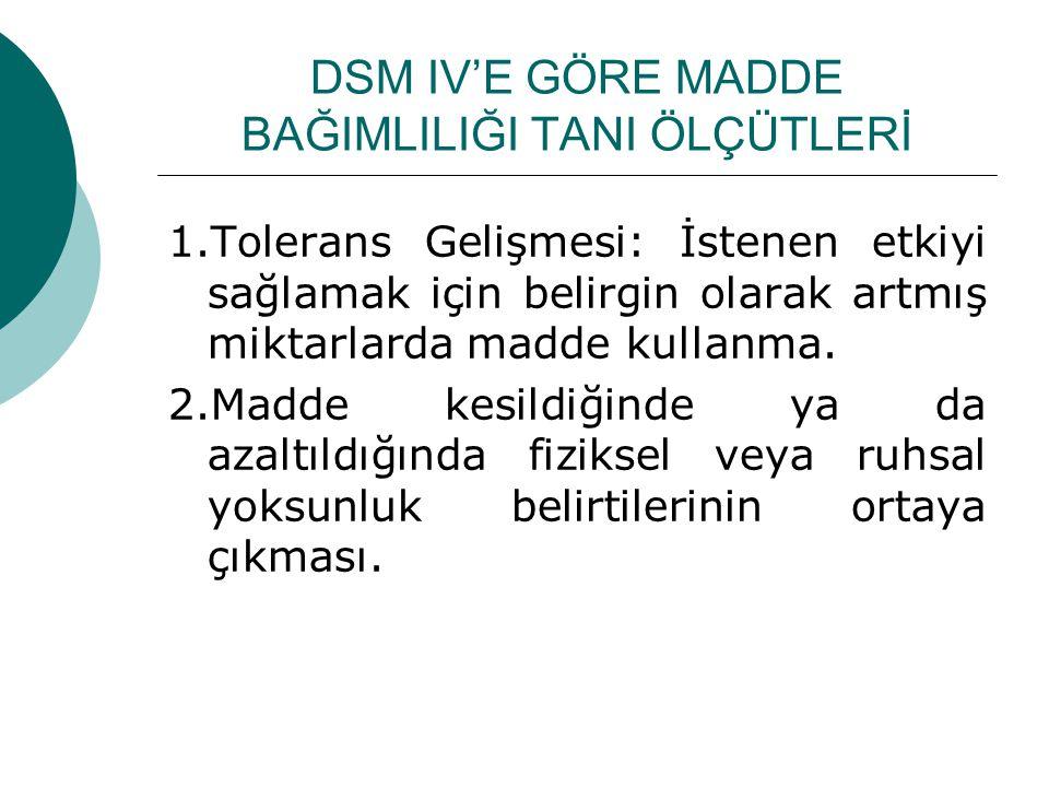 DSM IV'E GÖRE MADDE BAĞIMLILIĞI TANI ÖLÇÜTLERİ 1.Tolerans Gelişmesi: İstenen etkiyi sağlamak için belirgin olarak artmış miktarlarda madde kullanma. 2
