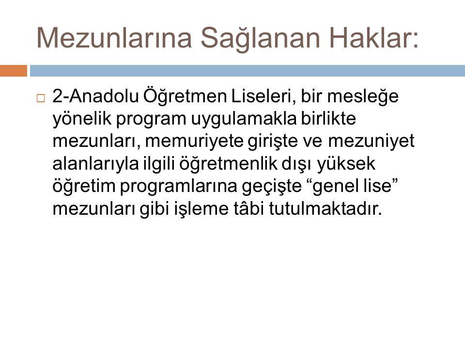  2-Anadolu Öğretmen Liseleri, bir mesleğe yönelik program uygulamakla birlikte mezunları, memuriyete girişte ve mezuniyet alanlarıyla ilgili öğretmen