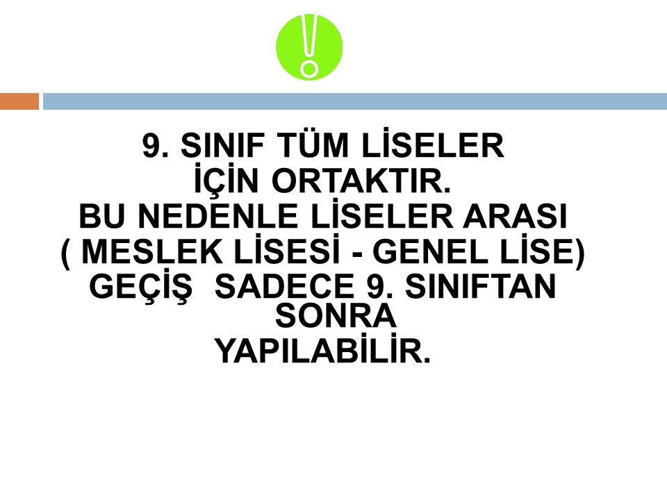 9. SINIF TÜM LİSELER İÇİN ORTAKTIR.