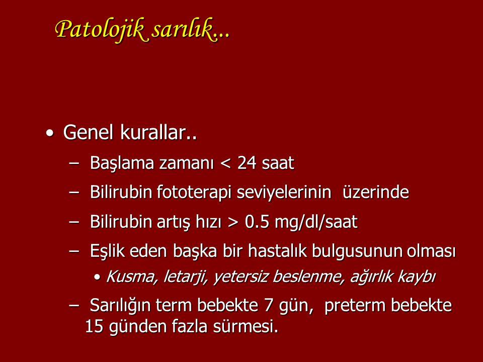 Patolojik sarılık... Genel kurallar..Genel kurallar.. – Başlama zamanı < 24 saat – Bilirubin fototerapi seviyelerinin üzerinde – Bilirubin artış hızı