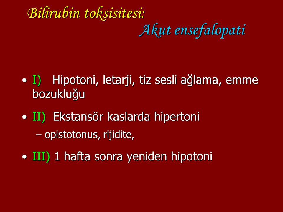 Bilirubin toksisitesi: Akut ensefalopati I) Hipotoni, letarji, tiz sesli ağlama, emme bozukluğuI) Hipotoni, letarji, tiz sesli ağlama, emme bozukluğu