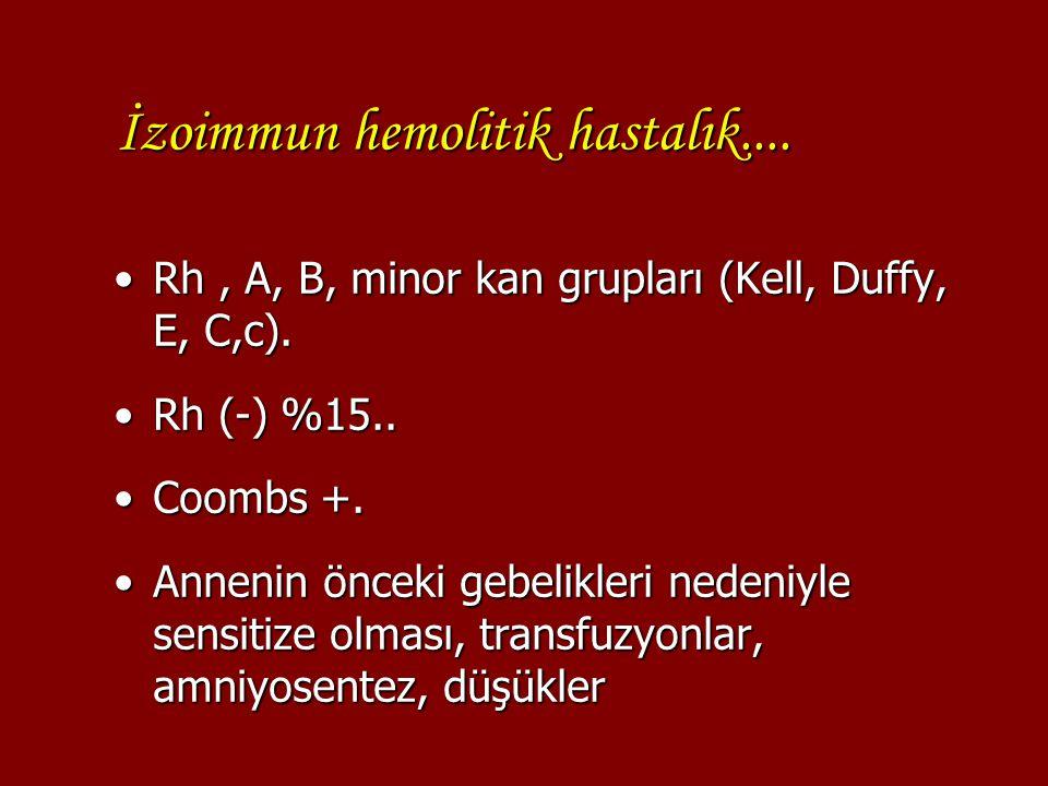 İzoimmun hemolitik hastalık.... Rh, A, B, minor kan grupları (Kell, Duffy, E, C,c).Rh, A, B, minor kan grupları (Kell, Duffy, E, C,c). Rh (-) %15..Rh