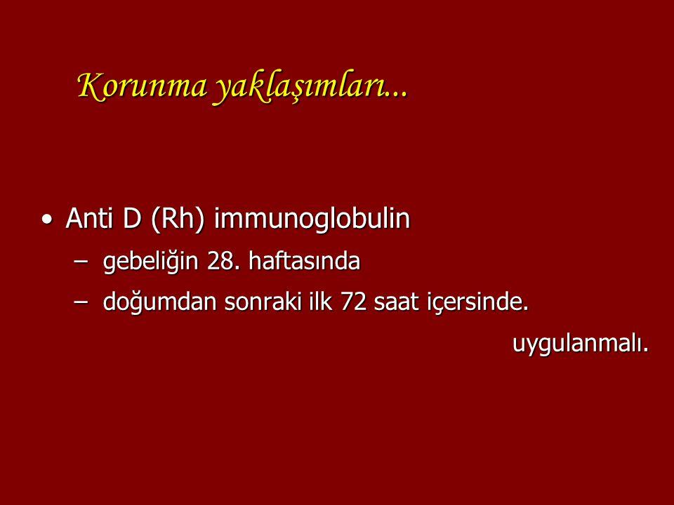 Korunma yaklaşımları... Anti D (Rh) immunoglobulinAnti D (Rh) immunoglobulin – gebeliğin 28. haftasında – doğumdan sonraki ilk 72 saat içersinde. uygu