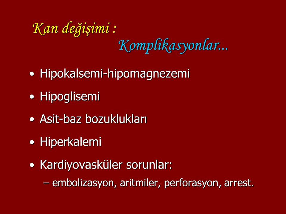 Kan değişimi : Komplikasyonlar... Hipokalsemi-hipomagnezemiHipokalsemi-hipomagnezemi HipoglisemiHipoglisemi Asit-baz bozukluklarıAsit-baz bozuklukları