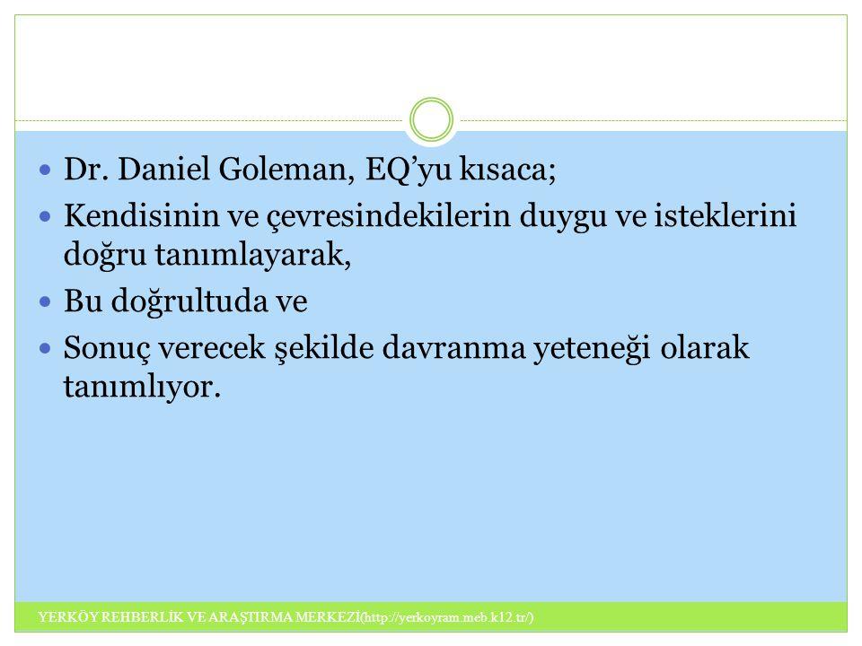 Dr. Daniel Goleman, EQ'yu kısaca; Kendisinin ve çevresindekilerin duygu ve isteklerini doğru tanımlayarak, Bu doğrultuda ve Sonuç verecek şekilde davr