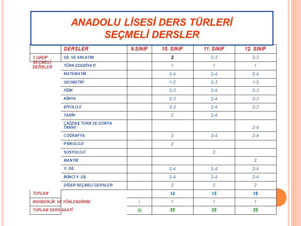 ANADOLU LİSESİ DERS TÜRLERİ SEÇMELİ DERSLER