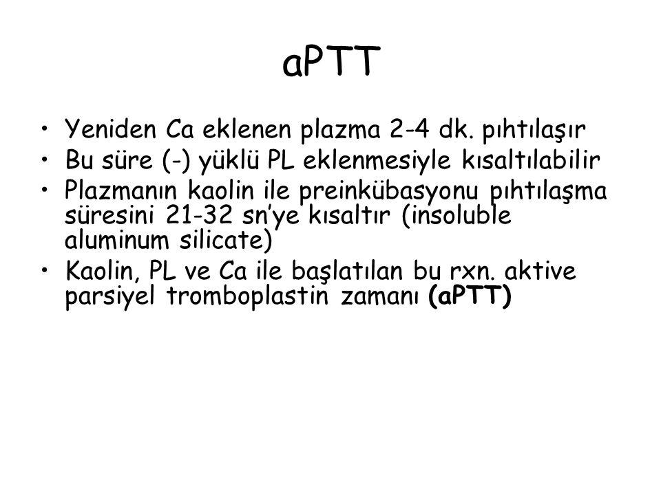 aPTT Yeniden Ca eklenen plazma 2-4 dk. pıhtılaşır Bu süre (-) yüklü PL eklenmesiyle kısaltılabilir Plazmanın kaolin ile preinkübasyonu pıhtılaşma süre