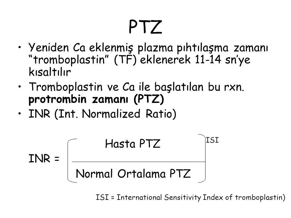 """PTZ Yeniden Ca eklenmiş plazma pıhtılaşma zamanı """"tromboplastin"""" (TF) eklenerek 11-14 sn'ye kısaltılır Tromboplastin ve Ca ile başlatılan bu rxn. prot"""