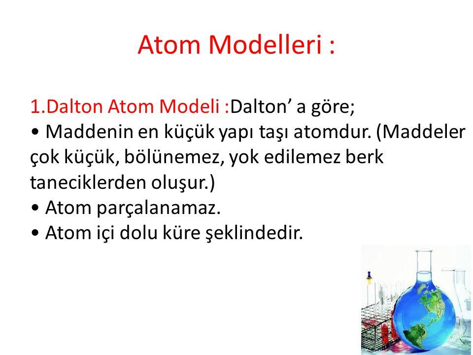 Atom Modelleri : 1.Dalton Atom Modeli :Dalton' a göre; Maddenin en küçük yapı taşı atomdur. (Maddeler çok küçük, bölünemez, yok edilemez berk tanecikl