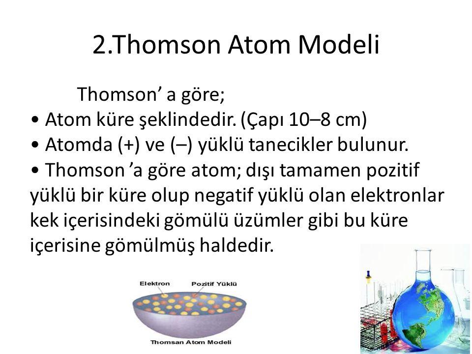 2.Thomson Atom Modeli Thomson' a göre; Atom küre şeklindedir. (Çapı 10–8 cm) Atomda (+) ve (–) yüklü tanecikler bulunur. Thomson 'a göre atom; dışı ta