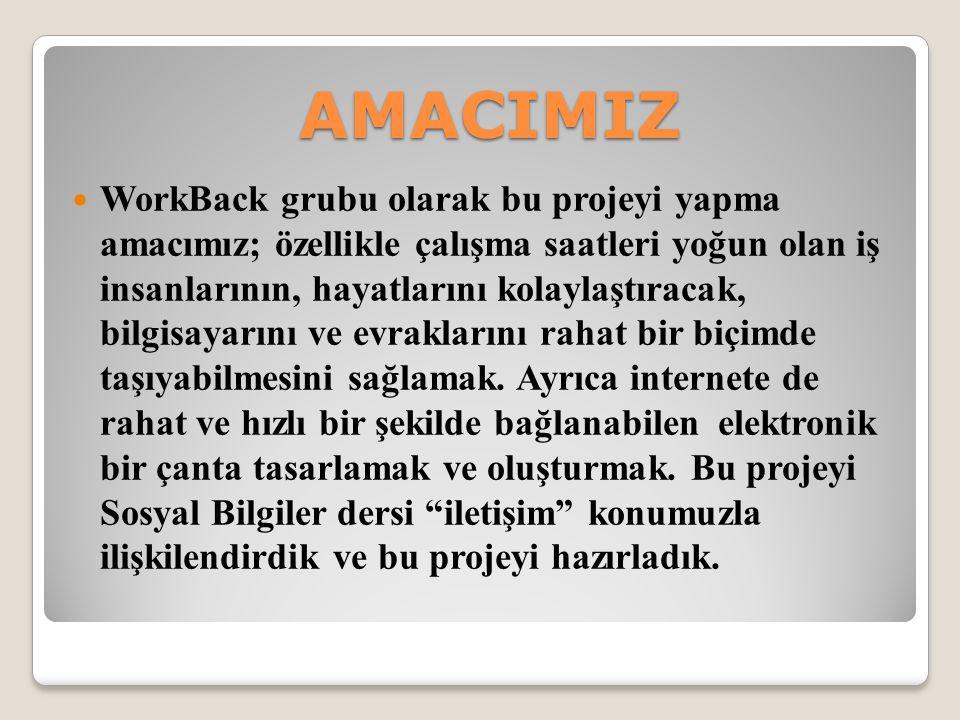 AMACIMIZ WorkBack grubu olarak bu projeyi yapma amacımız; özellikle çalışma saatleri yoğun olan iş insanlarının, hayatlarını kolaylaştıracak, bilgisayarını ve evraklarını rahat bir biçimde taşıyabilmesini sağlamak.