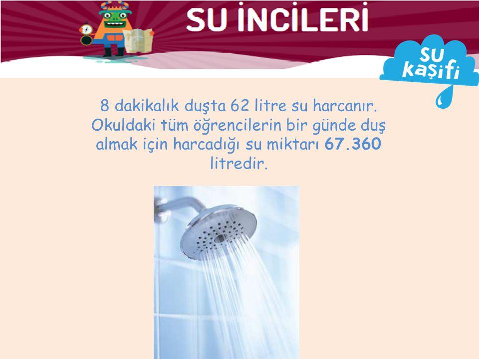 8 dakikalık duşta 62 litre su harcanır.