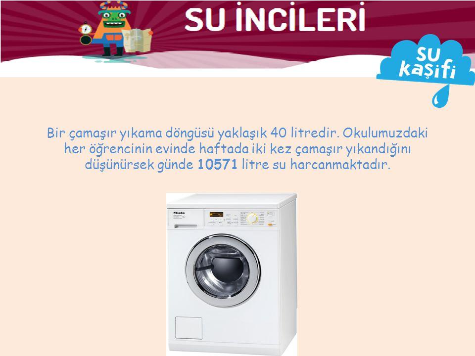 Bir çamaşır yıkama döngüsü yaklaşık 40 litredir.