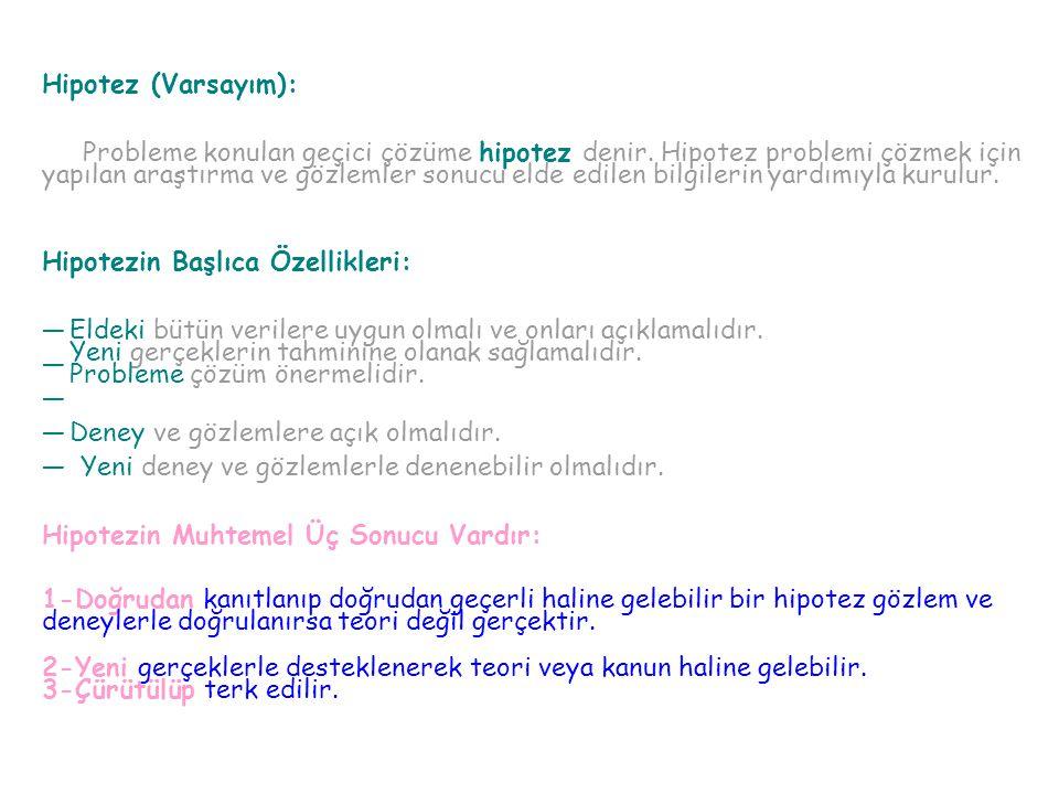 Hipotez (Varsayım): Probleme konulan geçici çözüme hipotez denir. Hipotez problemi çözmek için yapılan araştırma ve gözlemler sonucu elde edilen bilgi