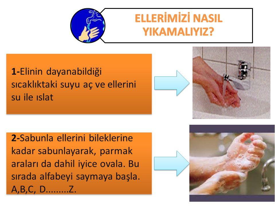 1-Elinin dayanabildiği sıcaklıktaki suyu aç ve ellerini su ile ıslat 2-Sabunla ellerini bileklerine kadar sabunlayarak, parmak araları da dahil iyice