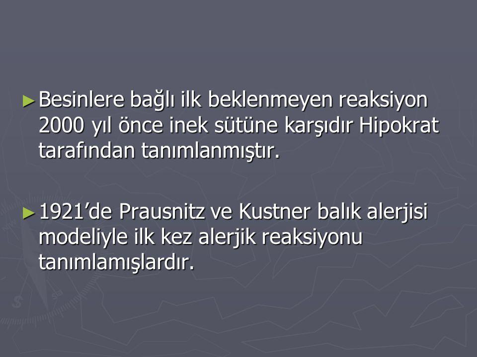 ► Besinlere bağlı ilk beklenmeyen reaksiyon 2000 yıl önce inek sütüne karşıdır Hipokrat tarafından tanımlanmıştır. ► 1921'de Prausnitz ve Kustner balı