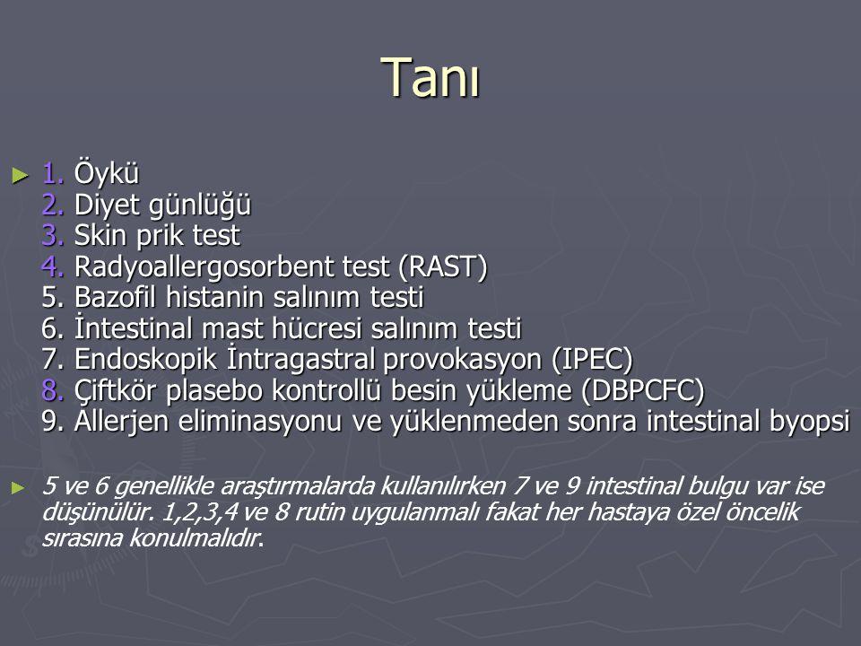 Tanı ► 1. Öykü 2. Diyet günlüğü 3. Skin prik test 4. Radyoallergosorbent test (RAST) 5. Bazofil histanin salınım testi 6. İntestinal mast hücresi salı