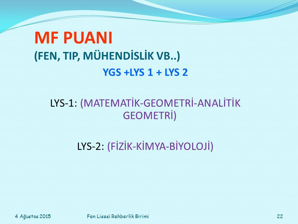MF PUANI (FEN, TIP, MÜHENDİSLİK VB..) YGS +LYS 1 + LYS 2 LYS-1: (MATEMATİK-GEOMETRİ-ANALİTİK GEOMETRİ) LYS-2: (FİZİK-KİMYA-BİYOLOJİ) 4 Ağustos 201522Fen Lisesi Rehberlik Birimi