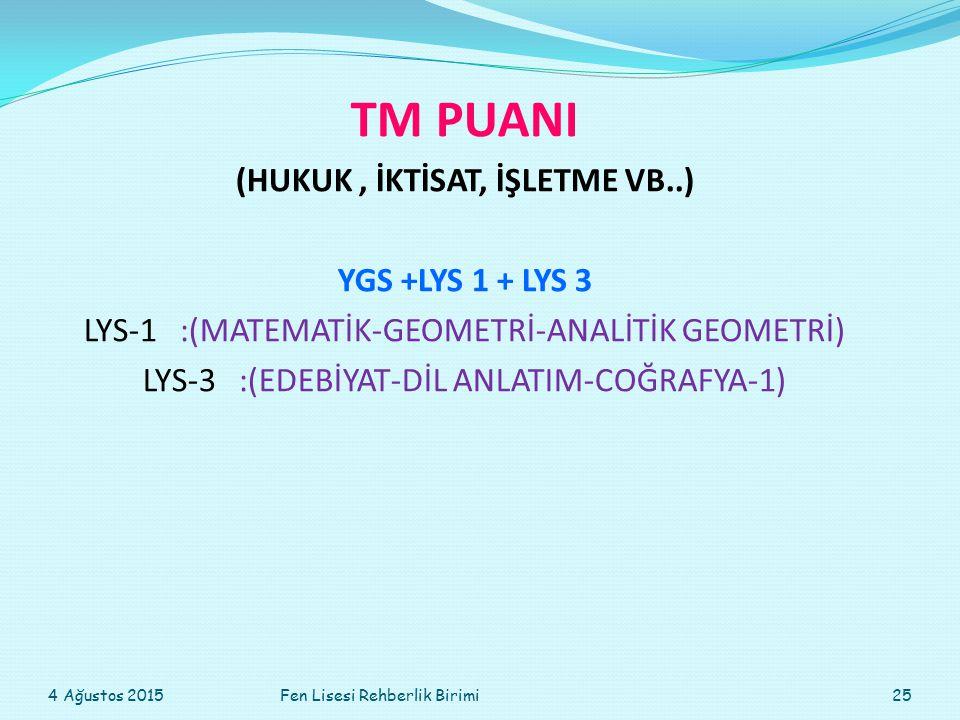 TM PUANI (HUKUK, İKTİSAT, İŞLETME VB..) YGS +LYS 1 + LYS 3 LYS-1:(MATEMATİK-GEOMETRİ-ANALİTİK GEOMETRİ) LYS-3:(EDEBİYAT-DİL ANLATIM-COĞRAFYA-1) 4 Ağustos 201525Fen Lisesi Rehberlik Birimi