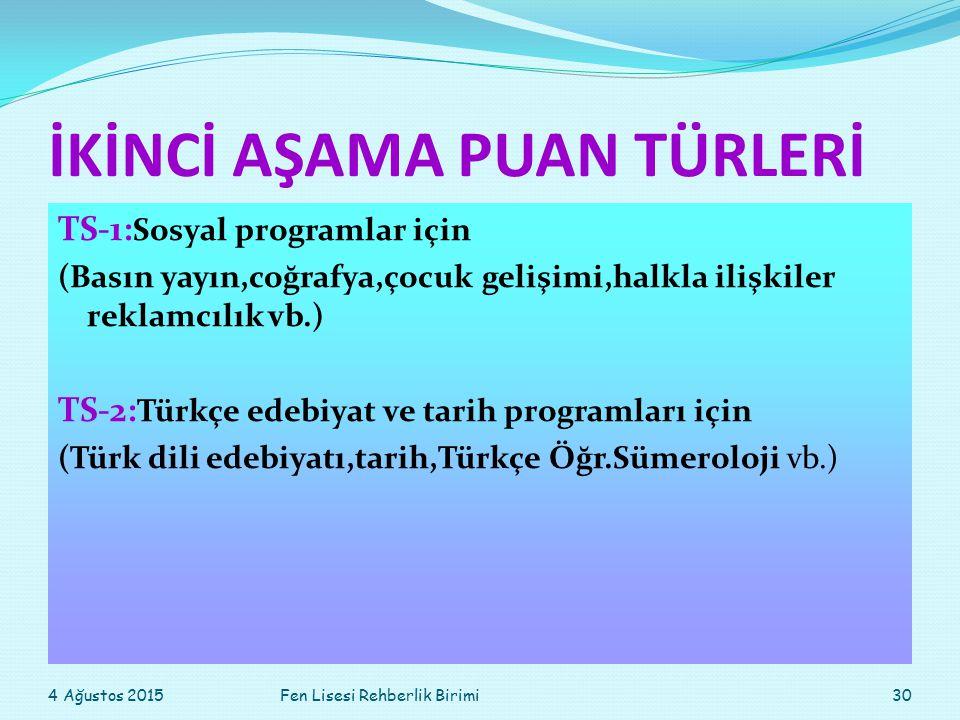 İKİNCİ AŞAMA PUAN TÜRLERİ TS-1: Sosyal programlar için (Basın yayın,coğrafya,çocuk gelişimi,halkla ilişkiler reklamcılık vb.) TS-2: Türkçe edebiyat ve