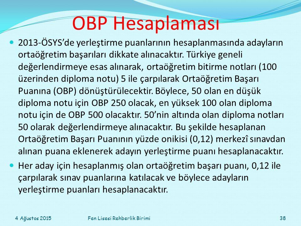 OBP Hesaplaması 2013-ÖSYS'de yerleştirme puanlarının hesaplanmasında adayların ortaöğretim başarıları dikkate alınacaktır. Türkiye geneli değerlendirm