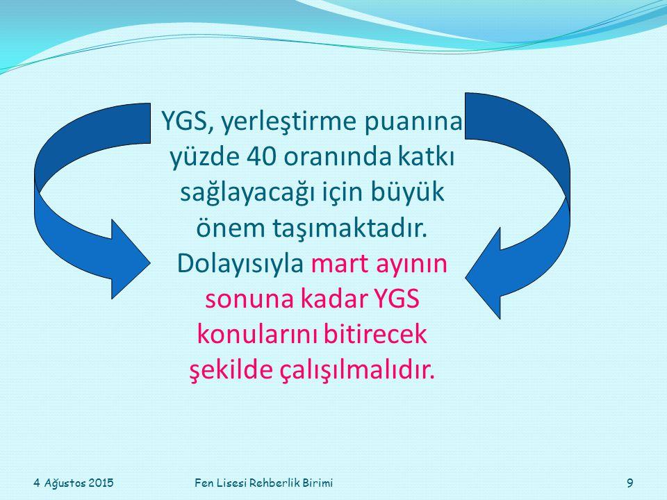YGS, yerleştirme puanına yüzde 40 oranında katkı sağlayacağı için büyük önem taşımaktadır. Dolayısıyla mart ayının sonuna kadar YGS konularını bitirec