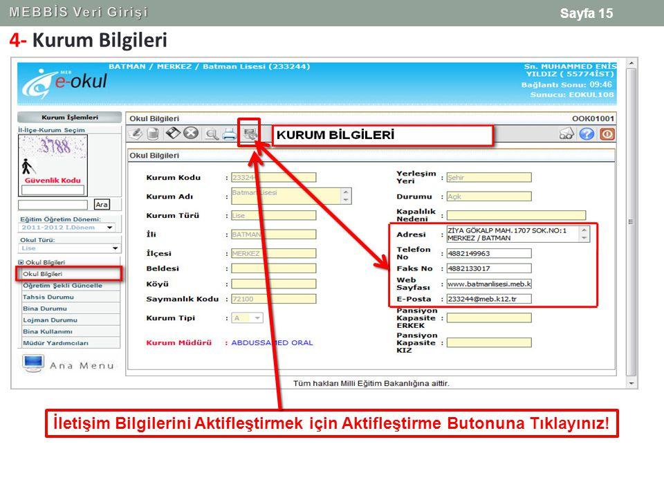 4- Kurum Bilgileri Sayfa 15 İletişim Bilgilerini Aktifleştirmek için Aktifleştirme Butonuna Tıklayınız!