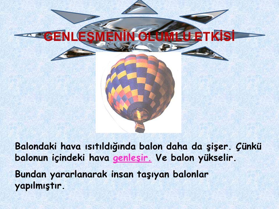 GENLEŞMENİN OLUMLU ETKİSİ Balondaki hava ısıtıldığında balon daha da şişer. Çünkü balonun içindeki hava genleşir. Ve balon yükselir. Bundan yararlanar