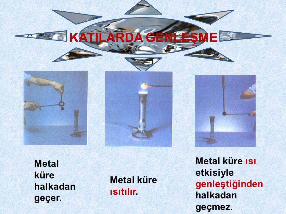 Metal küre halkadan geçer. Metal küre ısıtılır. Metal küre ısı etkisiyle genleştiğinden halkadan geçmez.