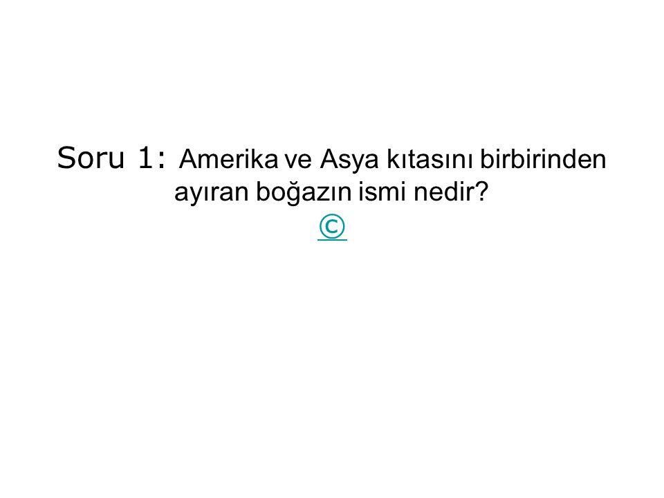 Soru 1: Amerika ve Asya kıtasını birbirinden ayıran boğazın ismi nedir? © ©