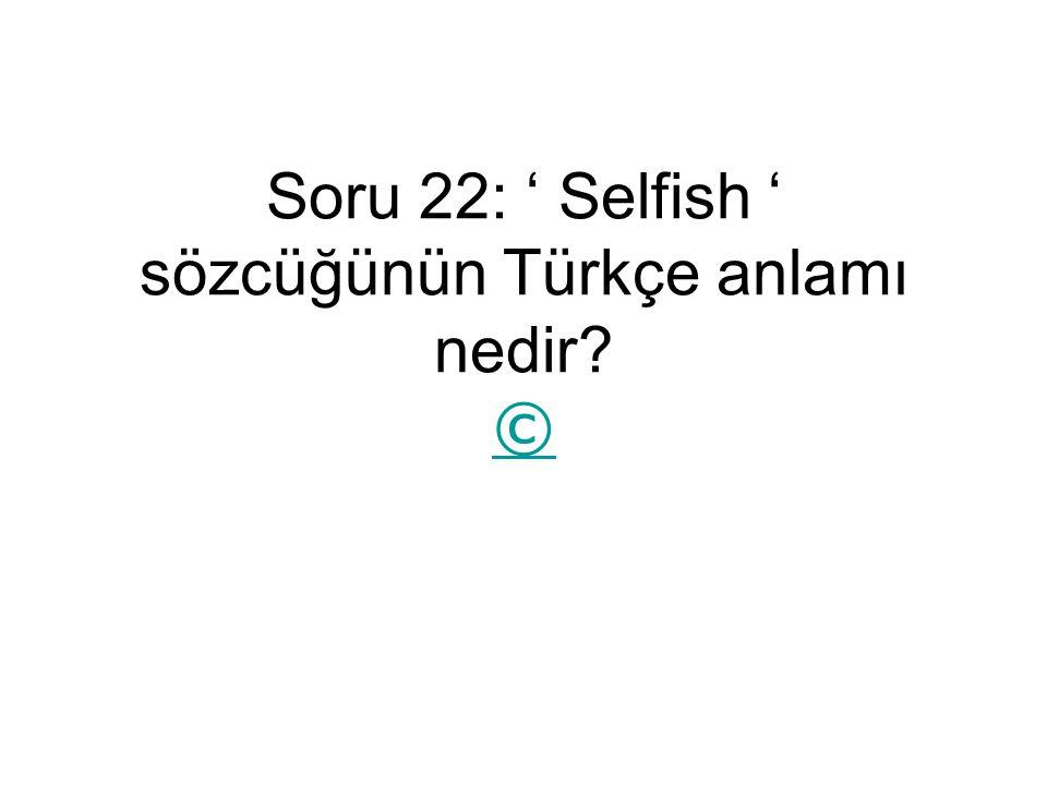 Soru 22: ' Selfish ' sözcüğünün Türkçe anlamı nedir? © ©