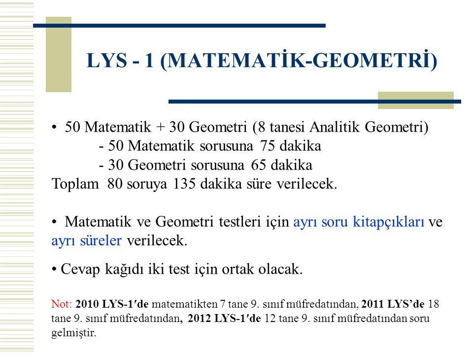 LYS - 1 (MATEMATİK-GEOMETRİ) 50 Matematik + 30 Geometri (8 tanesi Analitik Geometri) - 50 Matematik sorusuna 75 dakika - 30 Geometri sorusuna 65 dakik
